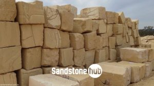 Sandstone BGrade Yellow Logs and Blocks Stacked in Quarry Yard