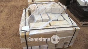 Sandstone Bricks for Garden edging 200mm Rockface Diamond Cut Multi color on pallet
