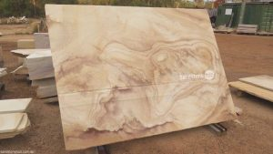 Sandstone Slab Factory Diamond Cut Can be Used For Many Purposes Beautiful Creme and Brown Tones