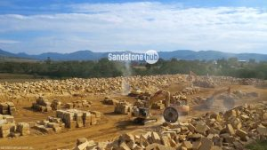 Sandstone Quarry in Production Mode Cutting of Blocks and Logs