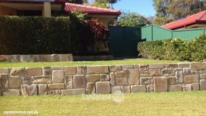 Sandstone Retaining Wall Front Yard