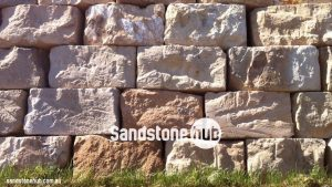 Sandstone Blocks And Retaining Wall Rockfaced And Wheel Sawn