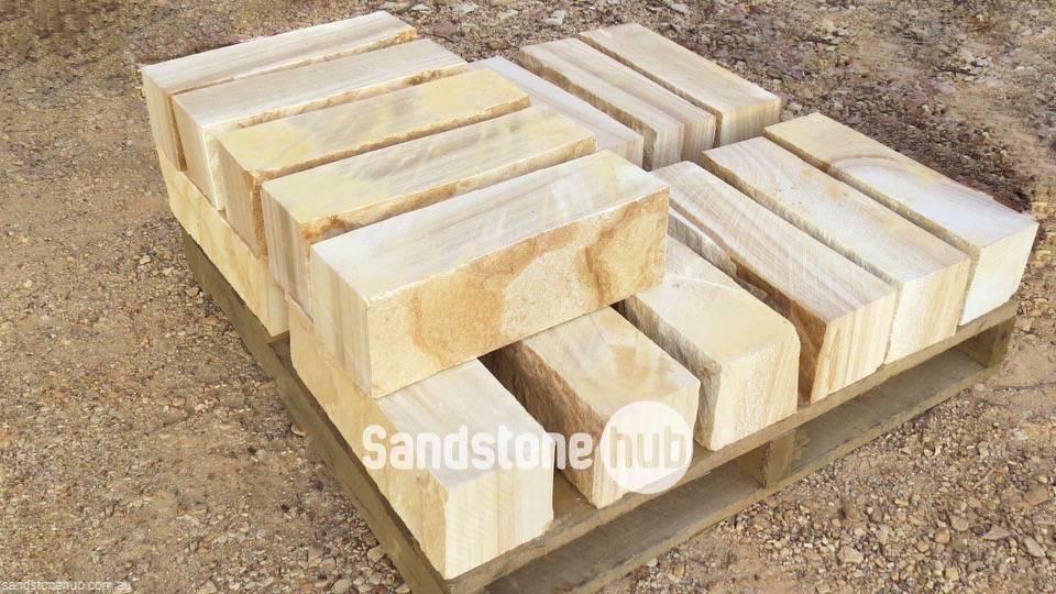 Garden Edging Blocks Masters : Sandstone rockfaced garden edging yellow tones stacked on pallet
