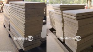 Sandstone Capping Various Sizes with Bullnosed Edge Stacked on Pallet Mixed Colours