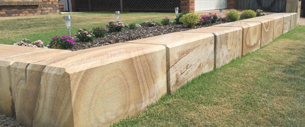 Sandstone Factory Blocks And Logs Retaining Wall Diamond Sawn Chamfered Edges