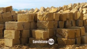 Sandstone Blocks and Logs in Quarry Yard Wheel Sawn 5 Sides Yellow in Colour