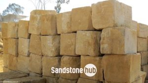 Sandstone AGrade Yellow Blocks and Logs Wheel Sawn 5 Sides In Quarry Reserve Yard