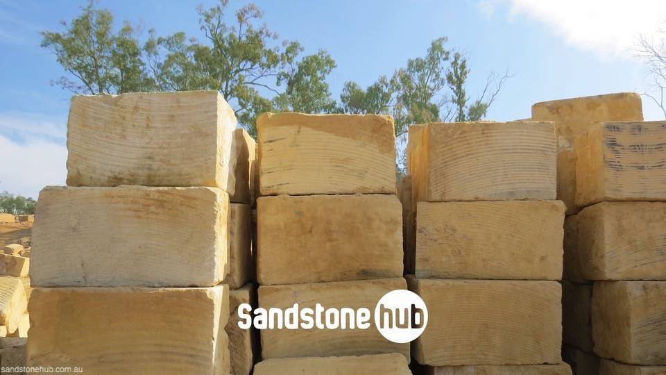 Sandstone AGrade Blocks and Logs Yellow Wheel Sawn at Quarry Yard