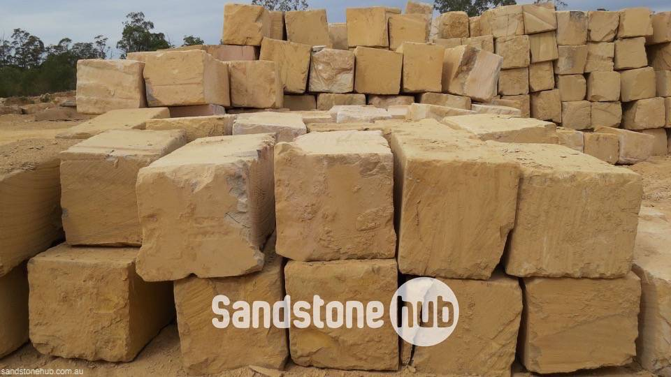 Sandstone BGrade Premium Yellow Blocks and Logs Stacked In Quarry Yard