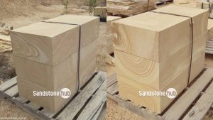 Sandstone Blocks Logs Diamond Cut on Pallet yellow and white stripe