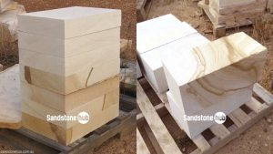 Sandstone Blocks Logs Diamond Cut on pallet Multi color on pallet