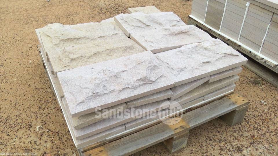 Sandstone Cladding Rock Face Yellow Purple and Pink White on pallet