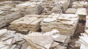 Sandstone Pavers and tiles for Crazy paving or cladding, random shapes on diffenent pallets