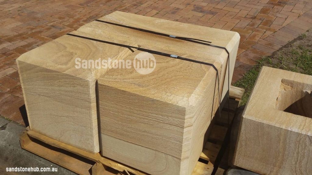 Sandstone Blocks Diamond Sawn Chamfered Edges Palletised Ready For Delivery