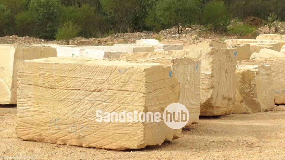 Sandstone Large blocks for exports or made in to factory products yellow stripe