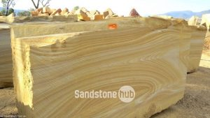 Sandstone Large blocks for exports or made in to factory products yellow stripes