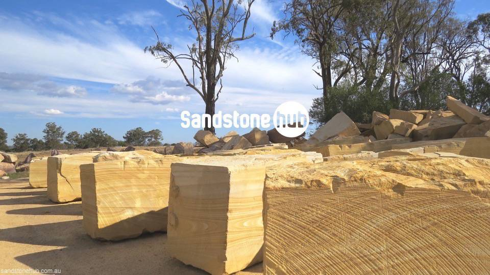 Sandstone AGrade Export Blocks at Quarry For Processing / Distribution - Yellow Tones