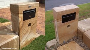 Sandstone Letterbox-Mailbox with Newspaper holder, Modern Look Front And Back Views