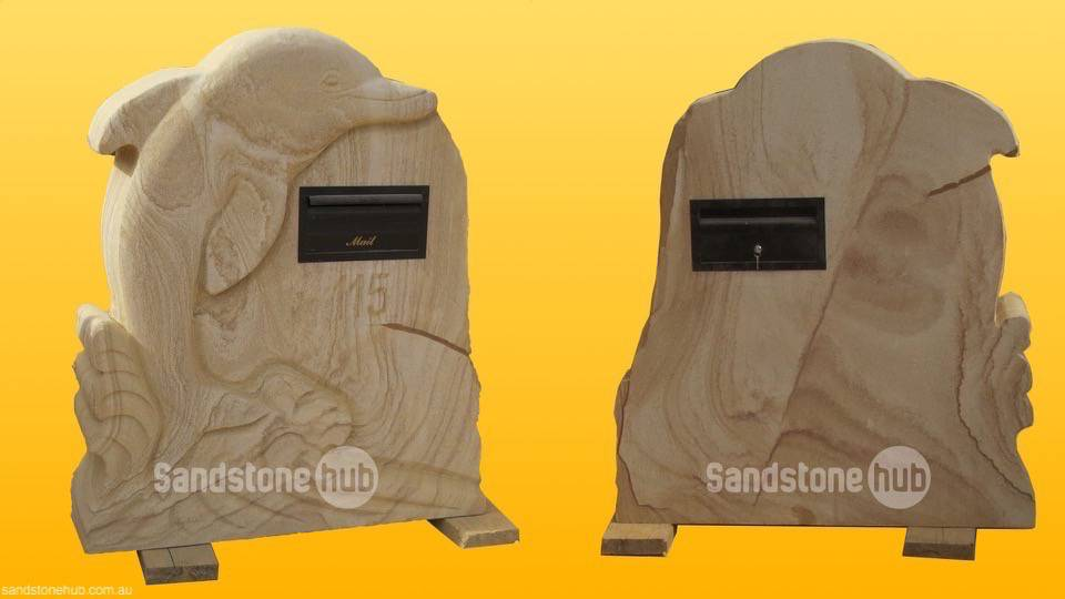 Sandstone Cutom Made Dolphin Letterbox/Mailbox with Street Number Engraved