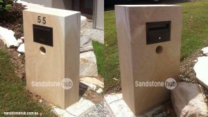 Sandstone Mailbox Letterbox Sleek Modern Diamond Sawn Finish