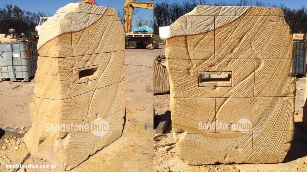 Sandstone Letterbox Rustic Wheel Sawn Finish