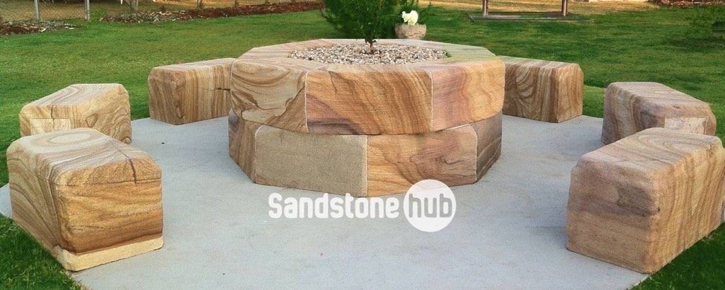 Sandstone Garden Feature And Seating