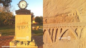 Sandstone Monuments Sculptures Clock Stand And Train Carving