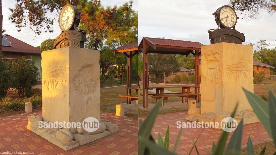 Sandstone Park Monument Clock Tower Yellow Sandstone
