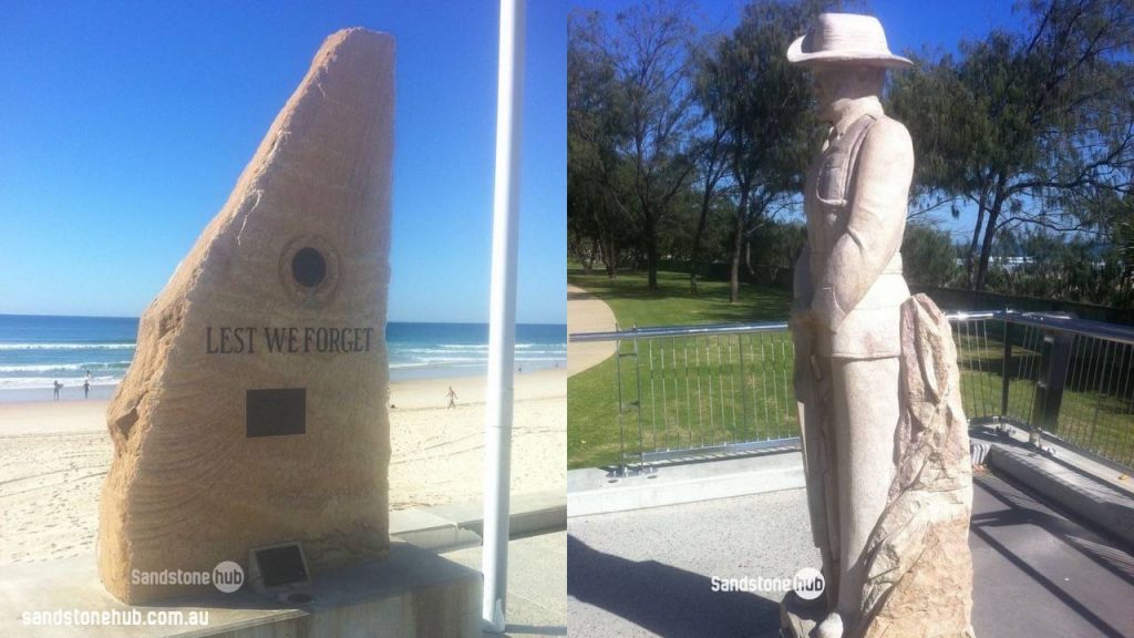 Sandstone Monuments Anzac Memorial And Soldier Sculpture