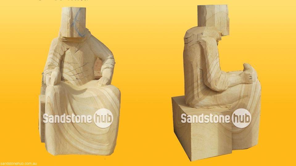 Sandstone Statue of Man Sitting Being Made for Project Custom Orders