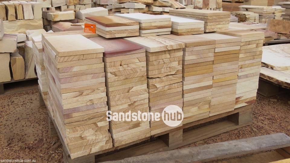 Sandstone Tiles and Pavers Yellow, White and Brown Tones on Pallet