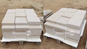 Sandstone Diamond Cut Pavers and Tiles White Coloured on Pallets
