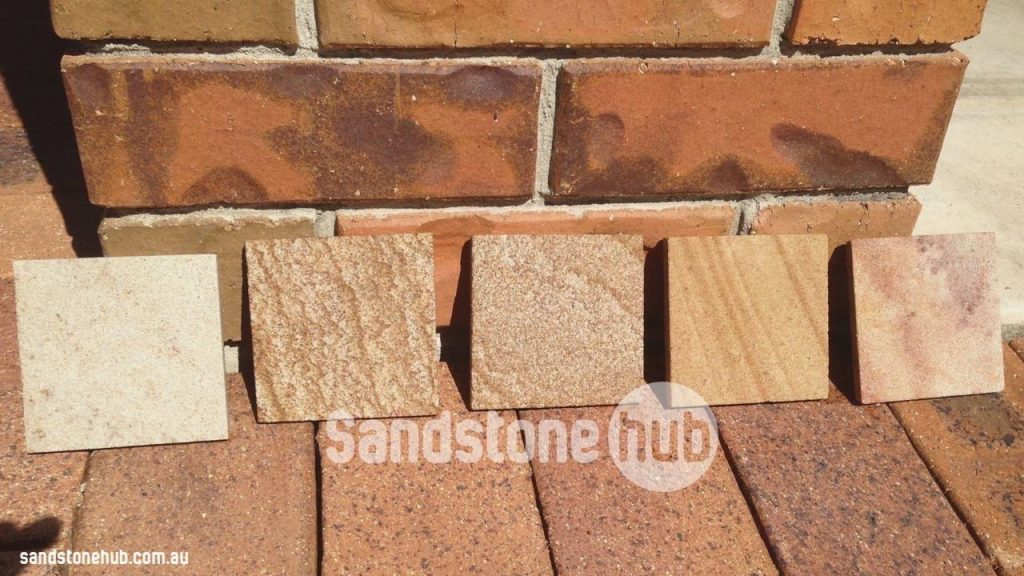 Sandstone Paving Tiles Showing Colour Variations