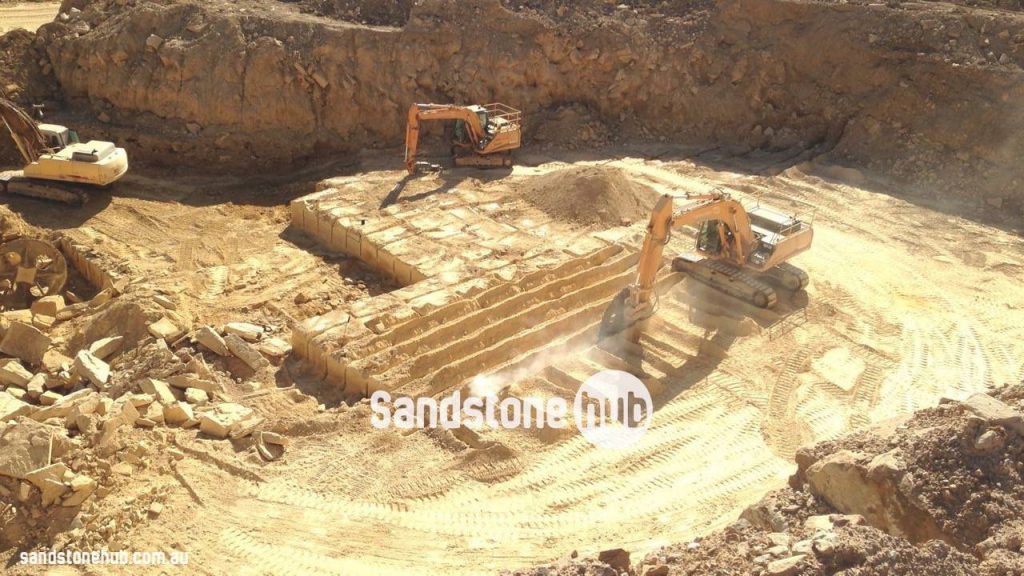 Sandstone Blocks And Logs Being Produced At Quarry Site