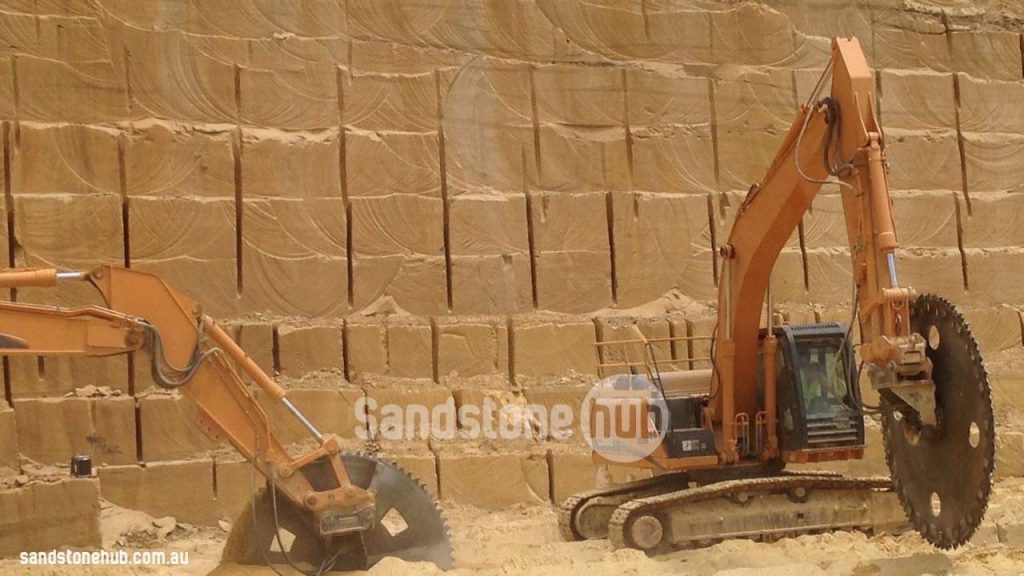 Sandstone Blocks And Logs Being Wheel Sawn At The Quarry
