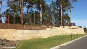 Sandstone Retaining Wall Built With Wheel Sawn Blocks Completed Project