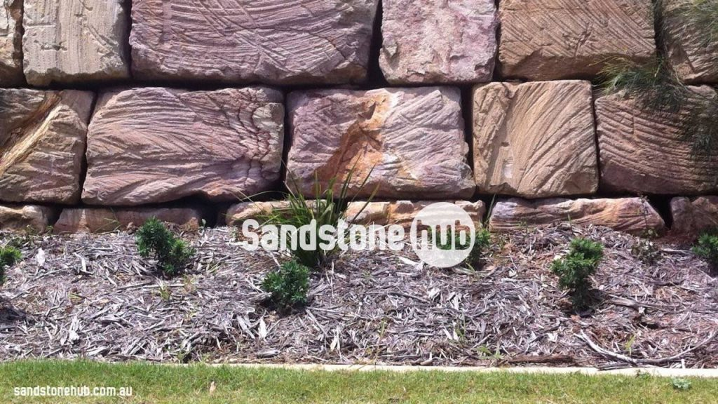 Sandstone Block Retaining Wall Wheel Sawn Finish