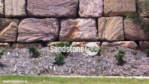 Sandstone Block Retaining Wall Wheel Sawn Finish