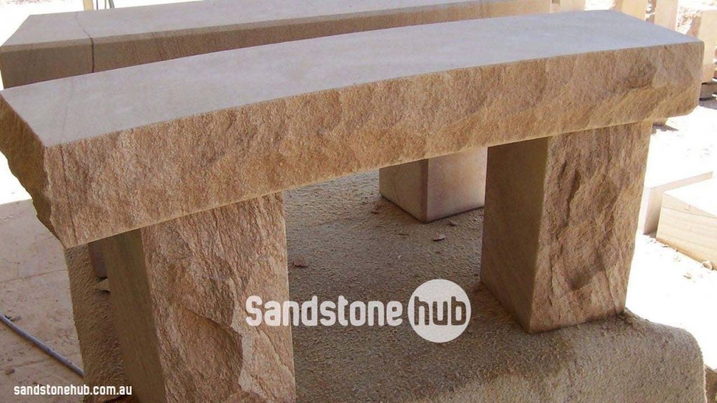 Sandstone Bench Seats And Tables Diamond Sawn Tops With Rockfaced Front and Sides