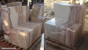 Sandstone Seats Two Completed Ready For Delivery On Pallet