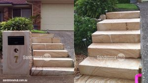 Sandstone Letterbox And Stairs At Entry To Property