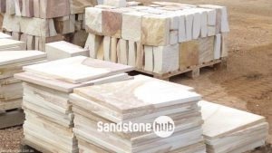 Sandstone Pavers, Tiles and Bricks Diamond Sawn and Rockfaced Products on Pallets in Reserve Yard Yellow, White and Brown Mixed Colours